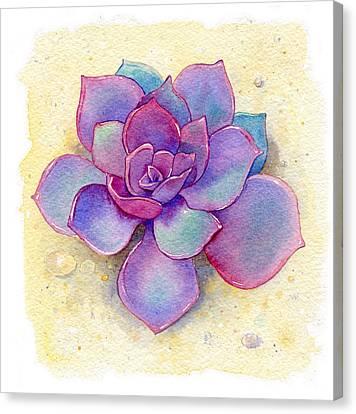 Cactus Watercolor Canvas Print - Succulent One by Laura Nikiel