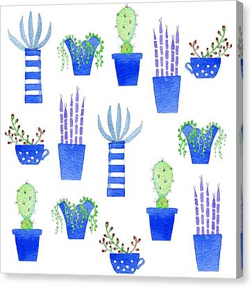 Cactus Watercolor Canvas Print - Succulents by Nic Squirrell