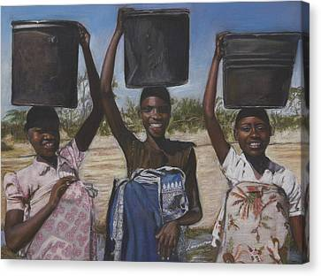 Sudanese Women Coming From The Borehole Canvas Print by Leonor Thornton