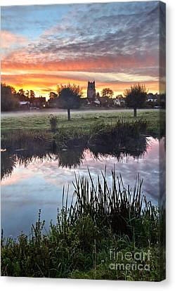 Sudbury Water Meadows At Dawn Canvas Print by Mark Sunderland