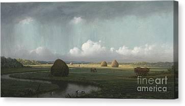 Sudden Shower, Newbury Marshes Canvas Print by Martin Johnson Heade