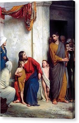 Suffer The Children Canvas Print by Carl Heinrich Bloch