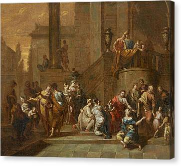 Suffer The Little Children To Come Unto Me Christ Heals A Paralytic Canvas Print by German masters