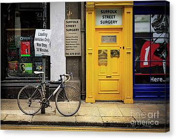 Canvas Print featuring the photograph Suffolk Street Surgery Bicycle by Craig J Satterlee