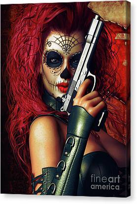 Sugar Doll Long Night Of The Dead Canvas Print by Shanina Conway