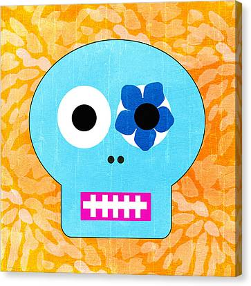 Sugar Skull Blue And Orange Canvas Print by Linda Woods