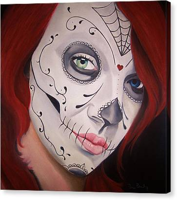 Sugar Skull Girl #1 Canvas Print by Brian Broadway