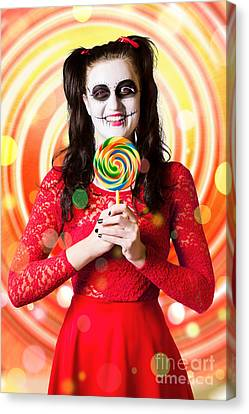 Sugar Skull Girl Holding Colourful Lollypop Candy Canvas Print