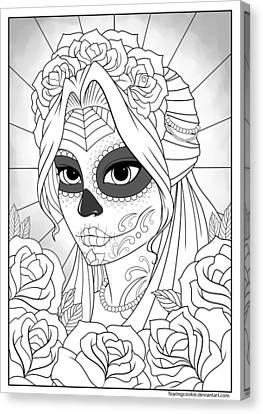 Skull In Rose Canvas Print - Sugar Skull Girl by Tearing Cookie
