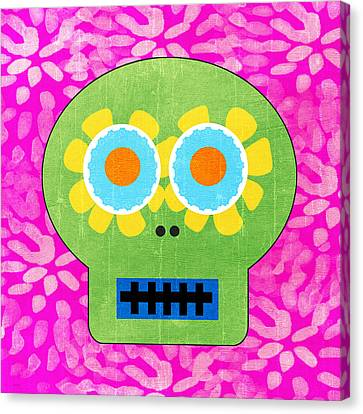 Sugar Skull Green And Pink Canvas Print by Linda Woods