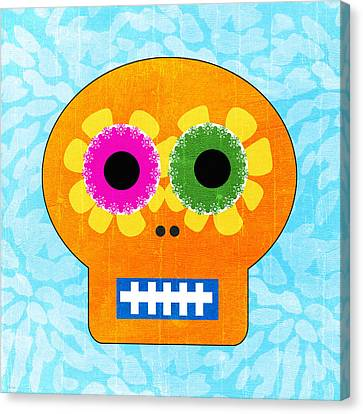 Sugar Skull Orange And Blue Canvas Print by Linda Woods