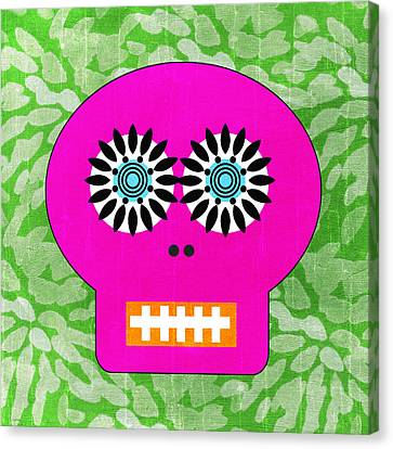 Sugar Skull Pink And Green Canvas Print by Linda Woods