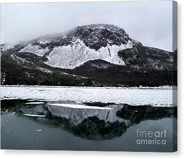 Canvas Print featuring the photograph Sugarloaf Hill Reflections In Winter by Barbara Griffin