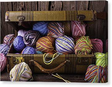 Spin Canvas Print - Suitcase Full Of Yarn by Garry Gay