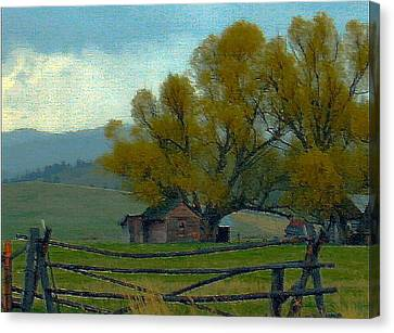 Robert Morrissey Canvas Print - Sula Montana Homestead by Robert Morrissey