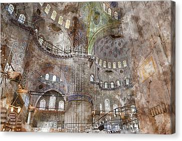 Medieval Temple Canvas Print - Sultanahmet Mosque Interior In Istanbul Turkey by Brandon Bourdages