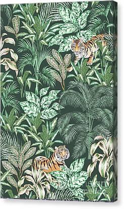 Sumatran Tiger, Green Canvas Print by Jacqueline Colley