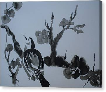 Sumi-e Bird And Plum Blossoms Canvas Print by Warren Thompson