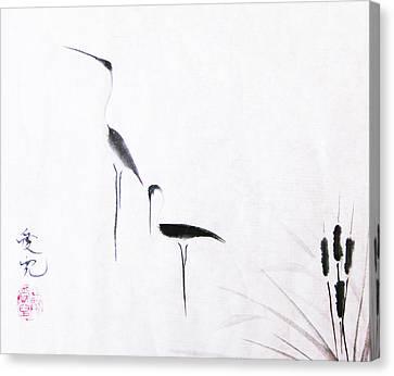 Sumi-e Canvas Print - Sumi-e Egrets by Oiyee At Oystudio