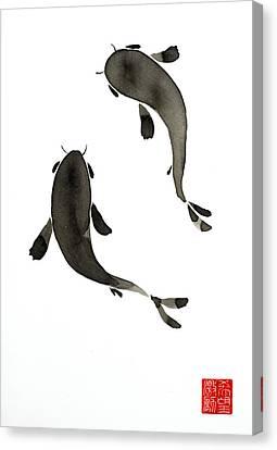 Sumi-e - Koi - One Canvas Print
