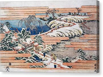 Sumidagawa Under Snow Canvas Print by Utagawa Kunitora