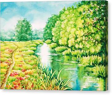 Canvas Print featuring the painting Summer Along The Creek by Inese Poga