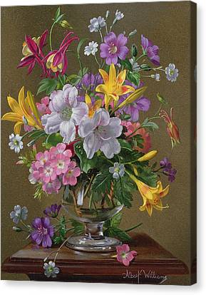 Summer Arrangement In A Glass Vase Canvas Print by Albert Williams