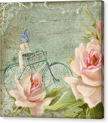 Summer At Cape May - Bicycle N Porch Roses Canvas Print by Audrey Jeanne Roberts