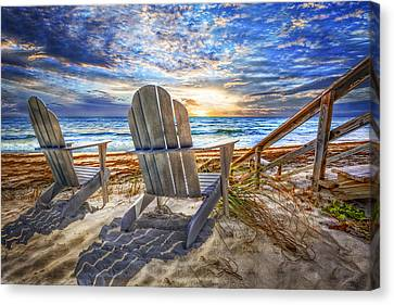 Adirondack Chairs On The Beach Canvas Print - Summer At The Shore by Debra and Dave Vanderlaan