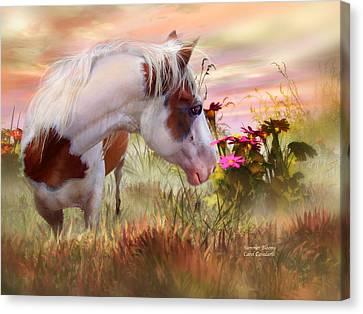Horse Giclee Canvas Print - Summer Blooms by Carol Cavalaris