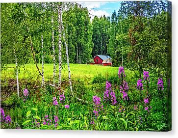 Charming Cottage Canvas Print - Summer Blooms  by Debra and Dave Vanderlaan