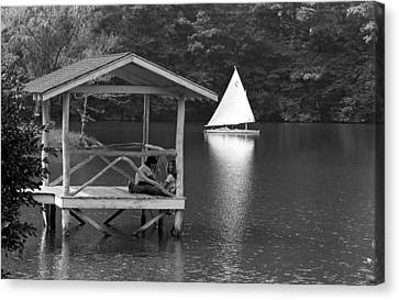 Summer Camp Black And White 1 Canvas Print by Michael Fryd