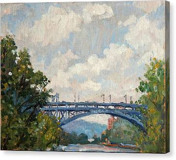 Summer Clouds Henry Hudson Bridge From Inwood Nyc Canvas Print by Thor Wickstrom