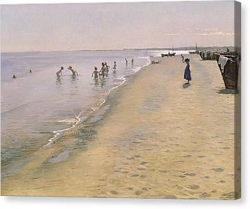 Summer Day At The South Beach Of Skagen Canvas Print by Peder Severin Kroyer