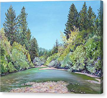 Summer Day On The Gualala River Canvas Print by Asha Carolyn Young