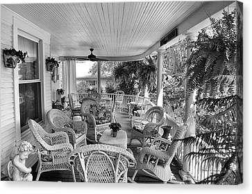 Rocking Chairs Canvas Print - Summer Day On The Victorian Veranda Bw 01 by Thomas Woolworth