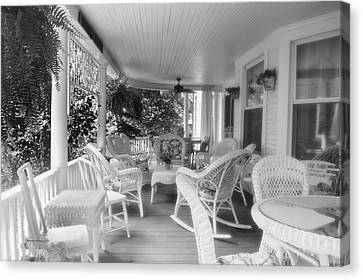 Rocking Chairs Canvas Print - Summer Day On The Victorian Veranda Bw 02 by Thomas Woolworth