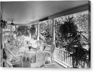 Rocking Chairs Canvas Print - Summer Day On The Victorian Veranda Bw 03 by Thomas Woolworth