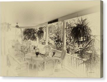 Rocking Chairs Canvas Print - Summer Day On The Victorian Veranda Heirloom by Thomas Woolworth