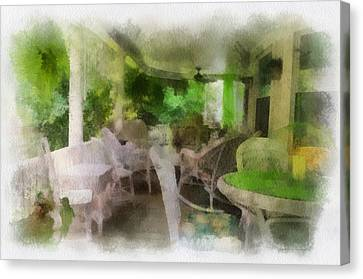 Rocking Chairs Canvas Print - Summer Day On The Victorian Veranda Pa 01 by Thomas Woolworth