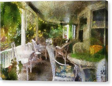 Rocking Chairs Canvas Print - Summer Day On The Victorian Veranda Pa 04 by Thomas Woolworth