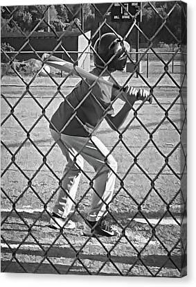 Summer Days - Little League Batter 1b - Bw Canvas Print by Greg Jackson