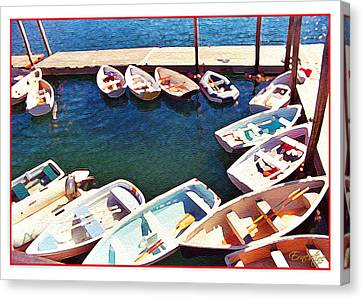 Row Boat Canvas Print - Summer Dock by Ernestine Grindal