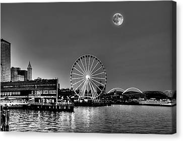 Summer Eve On The Seattle Waterfront Canvas Print by Greg Sigrist