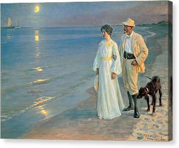Summer Evening On The Beach At Skagen, The Painter And His Wife. Canvas Print