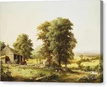 Summer Farm Scene Canvas Print by George Durrie