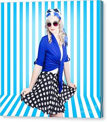 Summer Fashion Portrait. Model Girl. Retro Look Canvas Print by Jorgo Photography - Wall Art Gallery