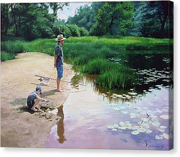 Canvas Print featuring the painting Summer Fishing by Sergey Zhiboedov