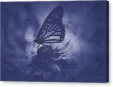 Invertebrates Canvas Print - Summer Floral With Monarch Butterfly 02 Blue by Thomas Woolworth
