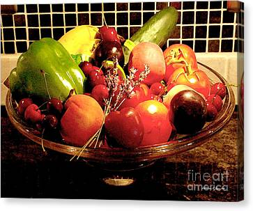Summer Fruit And Veggies Still Life -- Another Fresh Paintograph Canvas Print by Christine S Zipps
